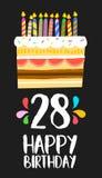 Поздравительая открытка ко дню рождения с днем рождений 28 28 тортов года Стоковые Фотографии RF