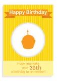 Поздравительая открытка ко дню рождения с днем рождений для двадцатого дня рождения Стоковое Изображение