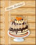 Поздравительая открытка ко дню рождения с тортом Стоковое Фото