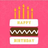 Поздравительая открытка ко дню рождения с тортом иллюстрация вектора