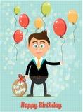 Поздравительая открытка ко дню рождения с усмехаться, счастливый, молодой, положение иллюстрация вектора
