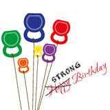 Поздравительая открытка ко дню рождения с kettlebells Стоковая Фотография