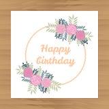 поздравительая открытка ко дню рождения цветет счастливое Стоковое фото RF