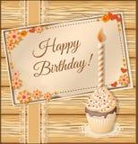 Поздравительая открытка ко дню рождения Scrapbooking с пирожным Стоковые Изображения