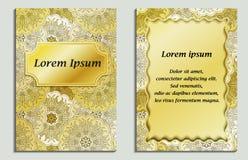 Поздравительная карточка и карточка приглашения с мандалой конструируют в винтажном восточном стиле Стоковое фото RF
