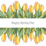 Поздравительная открытка акварели с цветками Стоковое Изображение