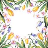 Поздравительная открытка акварели с цветками Стоковое Фото