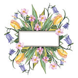 Поздравительная открытка акварели с цветками Стоковое фото RF