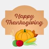 Поздравительная открытка благодарения с овощами и плодоовощами сбора Иллюстрация штока