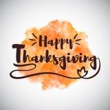 Поздравительная открытка благодарения с оранжевой акварелью Стоковая Фотография