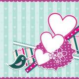 Поздравительная открытка валентинки шаблона, вектор Стоковые Изображения