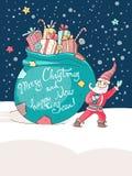 Поздравительная открытка вектора Кристмас и Новый Год маленький santa Стоковые Фотографии RF