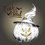 Поздравительная открытка вектора на хеллоуин Тыква в шляпе ведьмы с страшной усмехаясь стороной Винтажной иллюстрация нарисованна Стоковое Изображение