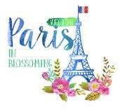 Поздравительная открытка вектора от Парижа Стоковые Изображения RF