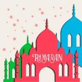 Поздравительная открытка вектора Рамазана с силуэтом мечети Стоковая Фотография RF