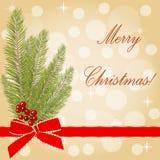 Поздравительная открытка вектора рождества с рождественской елкой Стоковая Фотография