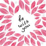 Поздравительная открытка вектора розовая на день валентинки Стоковое Изображение RF