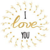 Поздравительная открытка вектора романтичная Типографской нарисованная рукой цитата золота и искры вдохновляющая я тебя люблю иллюстрация вектора