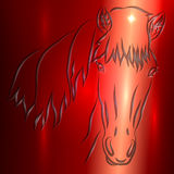 Поздравительная открытка вектора эскиза лошади иллюстрация штока