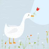 Поздравительная открытка весны с гусыней и цветками Стоковая Фотография