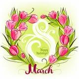 Поздравительная открытка в марте тюльпанов Стоковая Фотография RF