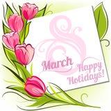 Поздравительная открытка в марте тюльпанов Стоковое Фото