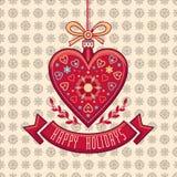 Поздравительная открытка в форме сердца счастливые праздники Стоковое Фото