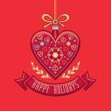Поздравительная открытка в форме сердца счастливые праздники Стоковые Изображения