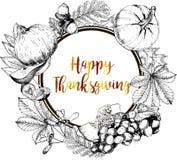 Поздравительная открытка границы вектора круглая на благодарение Нарисованная рукой иллюстрация выгравированная годом сбора виног Стоковая Фотография