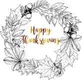 Поздравительная открытка границы вектора круглая на благодарение Листья осени - дуб, клен, каштан Стоковое Фото