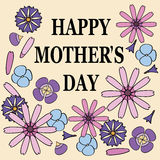 Поздравительная открытка Дня матери с цветками Стоковое Изображение