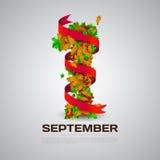 Поздравительная открытка или знамя до первого -го сентября изолированные на серой предпосылке Стоковые Фото