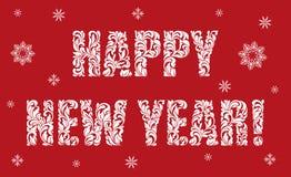 Поздравительная открытка или Новый Год плаката счастливый Текст сделанный флористических элементов иллюстрация вектора
