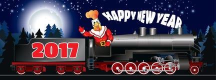Поздравительная открытка иллюстрации петуха в одежде Санта Клаусе Стоковые Изображения RF
