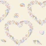 Поздравительная открытка моря Картина сердца Seashells безшовная Стоковая Фотография