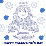 Поздравительная открытка на день валентинки с сладостной девушкой ангела иллюстрация штока