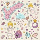 Поздравительная открытка на день валентинок с милыми ангелами бесплатная иллюстрация