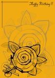 Поздравительная открытка на желтой предпосылке с черным co иллюстрация вектора