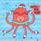 Поздравительная открытка Нового Года вектора в ребяческом стиле счастливый осьминог i Стоковые Фотографии RF