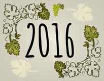 Поздравительная открытка Нового Года с виноградными лозами в векторе, 2016 иллюстрация штока