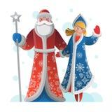 Поздравительная открытка Нового Года с отцом Frost и девушкой снега Стоковые Изображения RF