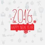 Поздравительная открытка Нового Года цветовой схемы современного стиля красная серая Стоковое Фото