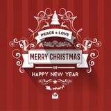 Поздравительная открытка Нового Года цветовой схемы современного стиля красная белая Стоковая Фотография RF