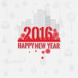 Поздравительная открытка Нового Года цветовой схемы современного стиля красная серая на свет-серой предпосылке Стоковые Фото