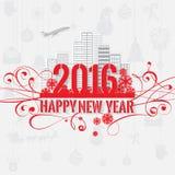 Поздравительная открытка Нового Года цветовой схемы современного стиля красная серая на свет-серой предпосылке Стоковая Фотография RF