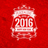 Поздравительная открытка Нового Года цветовой схемы современной усадьбы стиля красная белая Стоковое Фото