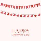 Поздравительная открытка дня валентинки с гирляндами Стоковая Фотография RF