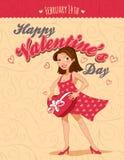 Поздравительная открытка дня валентинок винтажная с девушкой Стоковые Изображения RF