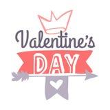 Поздравительная открытка дня валентинок нарисованная рукой Изолированная иллюстрация вектора Стоковые Изображения