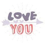 Поздравительная открытка дня валентинок нарисованная рукой Изолированная иллюстрация вектора Стоковое Изображение